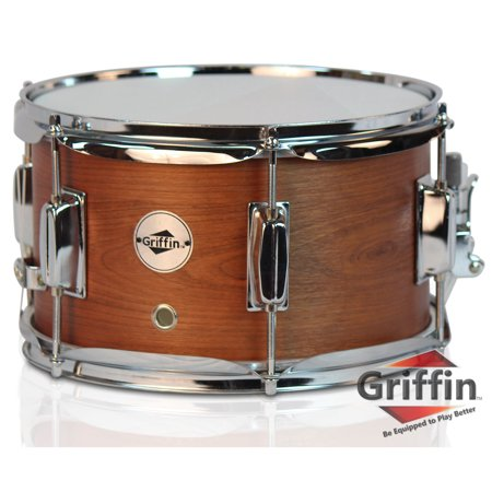 """Popcorn Snare Drum by Griffin Soprano Firecracker 10"""" x 6"""" Poplar Wood Shell with Hickory PVC Concert Percussion Musical Instrument with Drummers Key and Deluxe Snare Strainer Beginner & Professional"""
