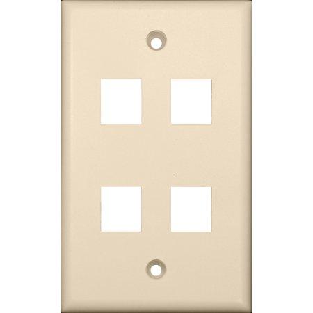 Morris 88188 DataComm Wall Plate for Keystone Jacks and Modular Inserts, 4 Ports, Almond