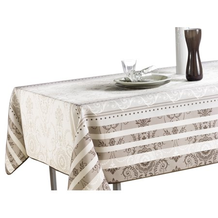 (60 x 80-Inch Rectangular Tablecloth Ivory White Brown Baroque, Stain Resistant, Washable, Liquid Spills bead up, Seats 8 to 10 People (Other Size Available: 63