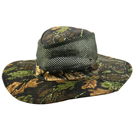 Poly Mesh Cap - Men Summer Wide Brim Western Style Camouflage Mesh Cap Net Sunhat Cowboy Hat #1