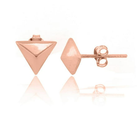 ROSE GOLD PLATED OVER STERLING SILVER PYRAMID STUD EARRINGS