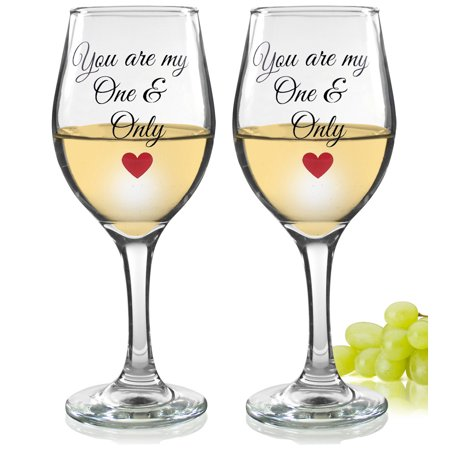 Valentine Wine Glasses - You Are My One and Only