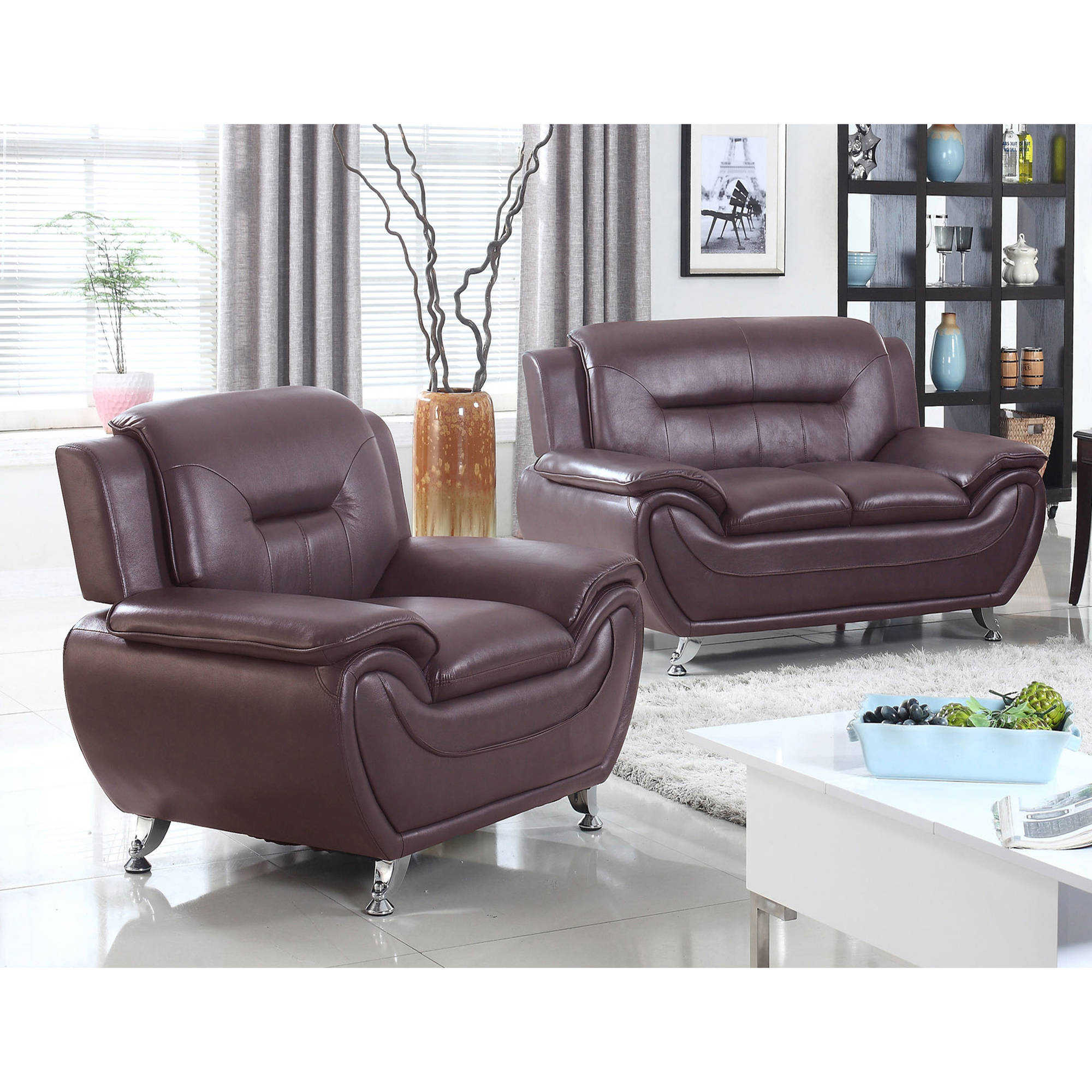 UFE Norton Dark Brown Faux Leather 2-Piece Modern Living Room Loveseat and Chair Set