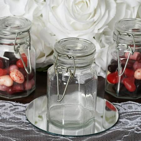 (Efavormart 4oz Wholesale Clear Hexagon Glass Jars For Candy Beverage Favor With Flip Lid - 12 jars)