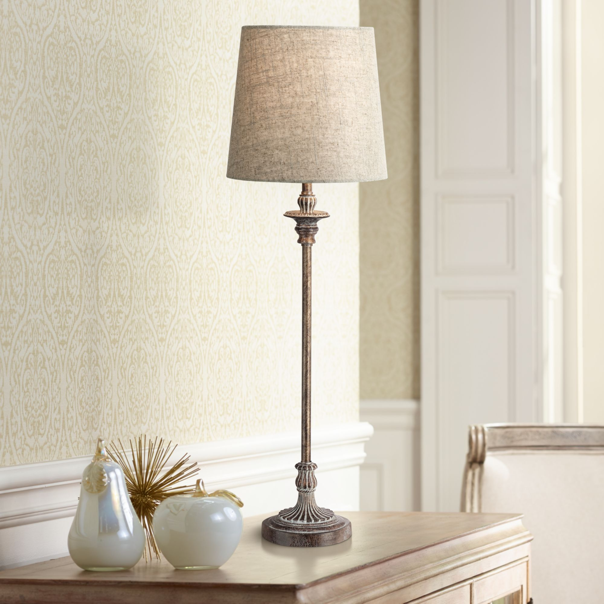 regency hill traditional buffet table lamp weathered brown linen fabric drum shade for dining room