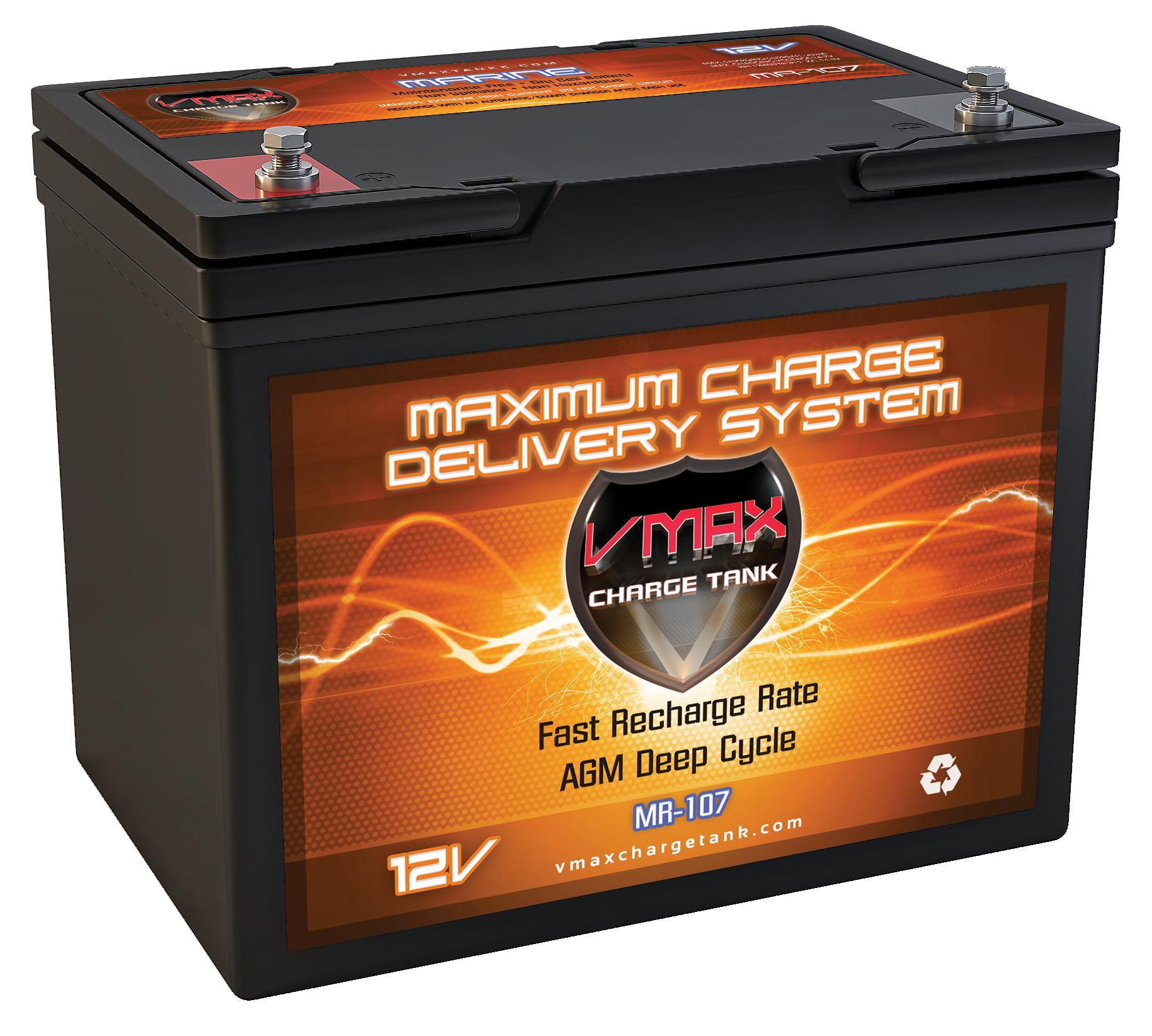 VMAX MR107-85 12V 85AH AGM Deep Cycle Marine Battery for Minn Kota Endura C2 45 12V 45lb Trolling Motor by VMAX USA