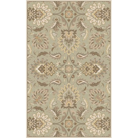 2' x 4' Cornelian Dove Grey, Dark Khaki and Green Hearth Wool Area Throw Rug