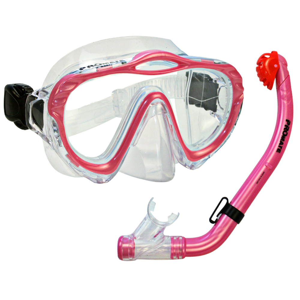 Junior Snorkel Set for kids Mask fins Snorkeling Scuba Diving, Pink