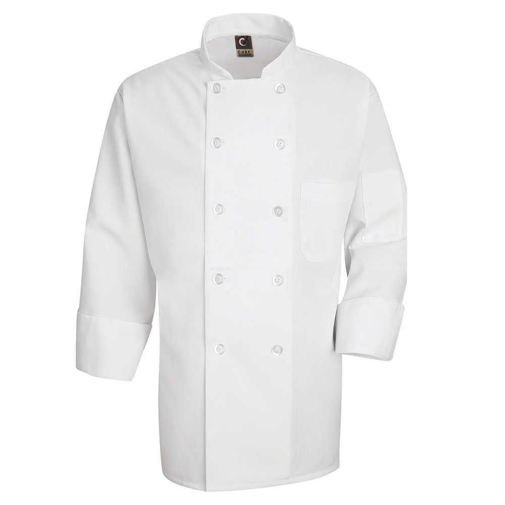 Chef Designs Ten-Pearl Button Chef Coat with Visa Soil Release and Thermometer Pocket by