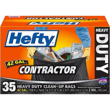 Hefty Heavy Duty Contractor Trash Bag 42 Gallon 35 Count