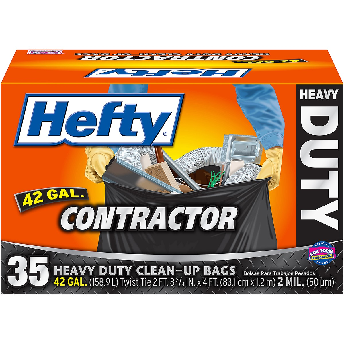 Hefty Heavy Duty Contractor Trash Bag, 42 Gallon, 35 Ct
