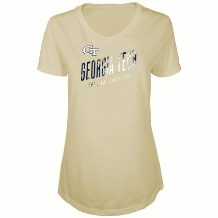Women's Russell Gold Georgia Tech Yellow Jackets Tunic Cap Sleeve V-Neck T-Shirt 1990 Georgia Tech Yellow Jackets