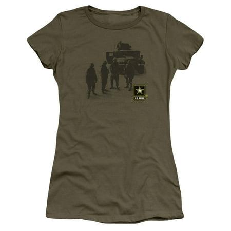 Army - Strong - Juniors Teen Girls Cap Sleeve Shirt - Large - Army Girl