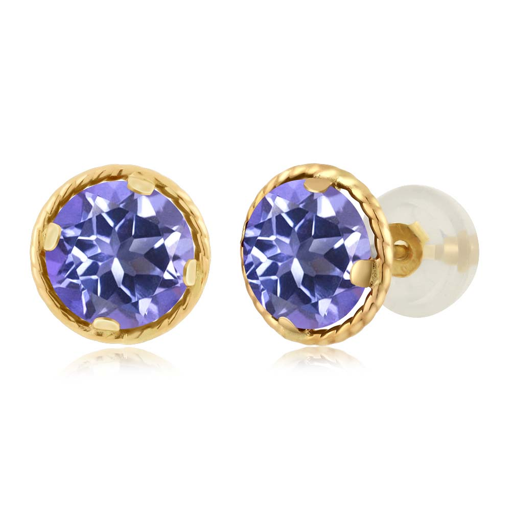 2.00 Ct Round 6mm Tanzanite Blue Mystic Topaz 14K Yellow Gold Stud Earrings