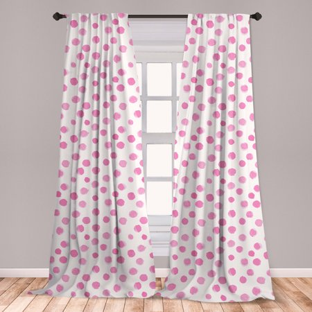 Pastel Curtains 2 Panels Set, Brushstroke Design Polka Dots in Monochrome Vintage Shabby Circle Rounds Design, Window Drapes for Living Room Bedroom, Pink and White, by Ambesonne Polka Dot Curtain Panels