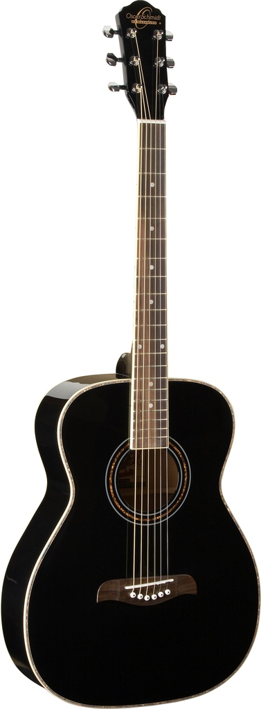 Oscar Schmidt Folk Style Acoustic Guitar, Select Spruce Top, Black, OF2B by Oscar Schmidt