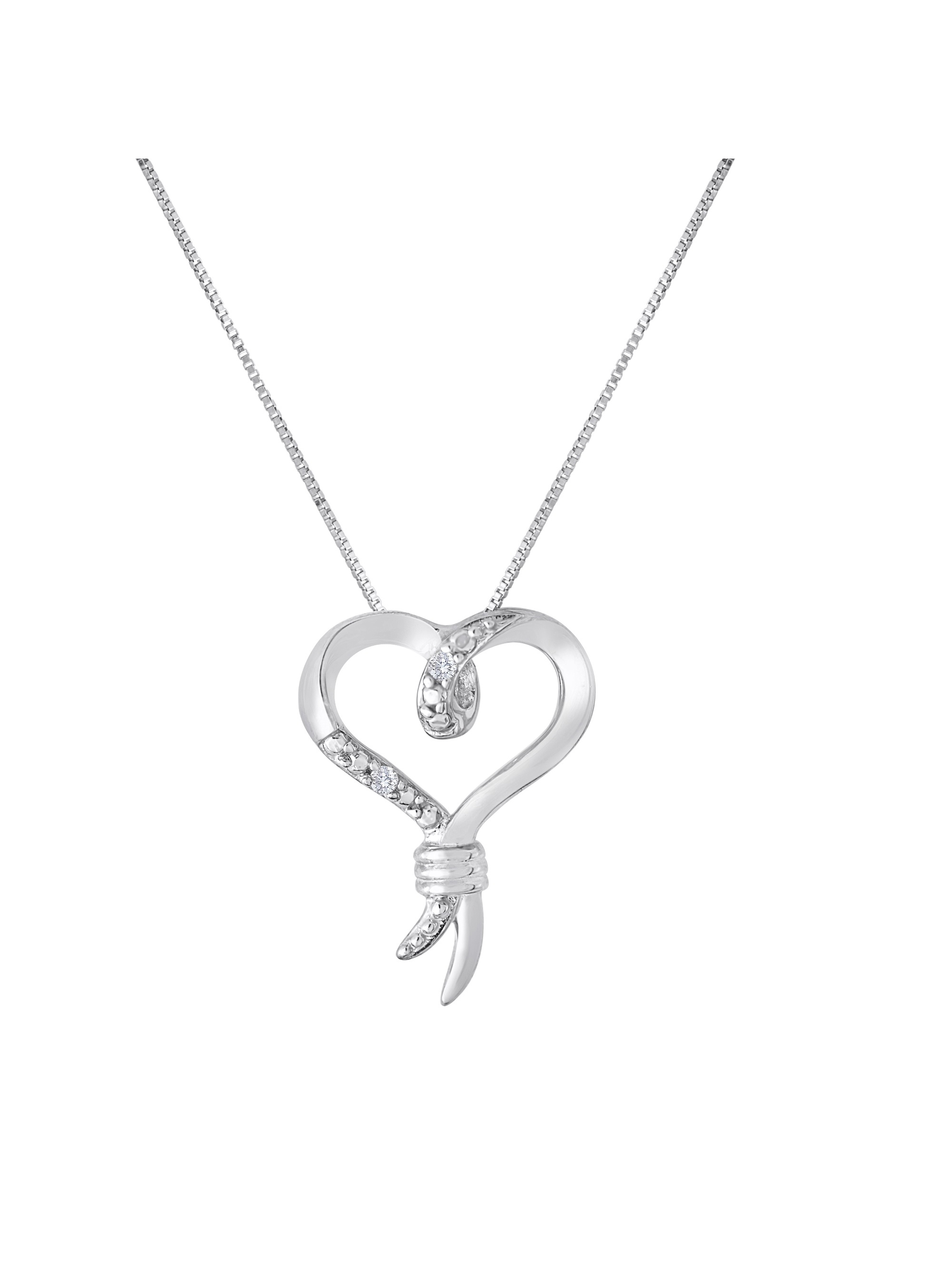 10kt White Gold Diamond Accent Heart Pendant, 18