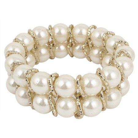 Unique Bargains Woman Double Rows White Faux Pearl Decoration Stretchy Beaded Bracelet Bangle
