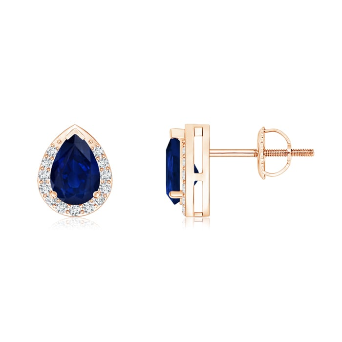 Angara Blue Sapphire Stud Earrings with Diamond Halo in Platinum oQHieYC