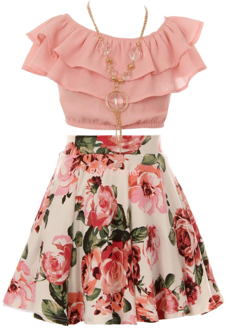 Kiddie Korral Toddler-Girls Girls Sequin Ruffle Shirt and Skirt Set 25P