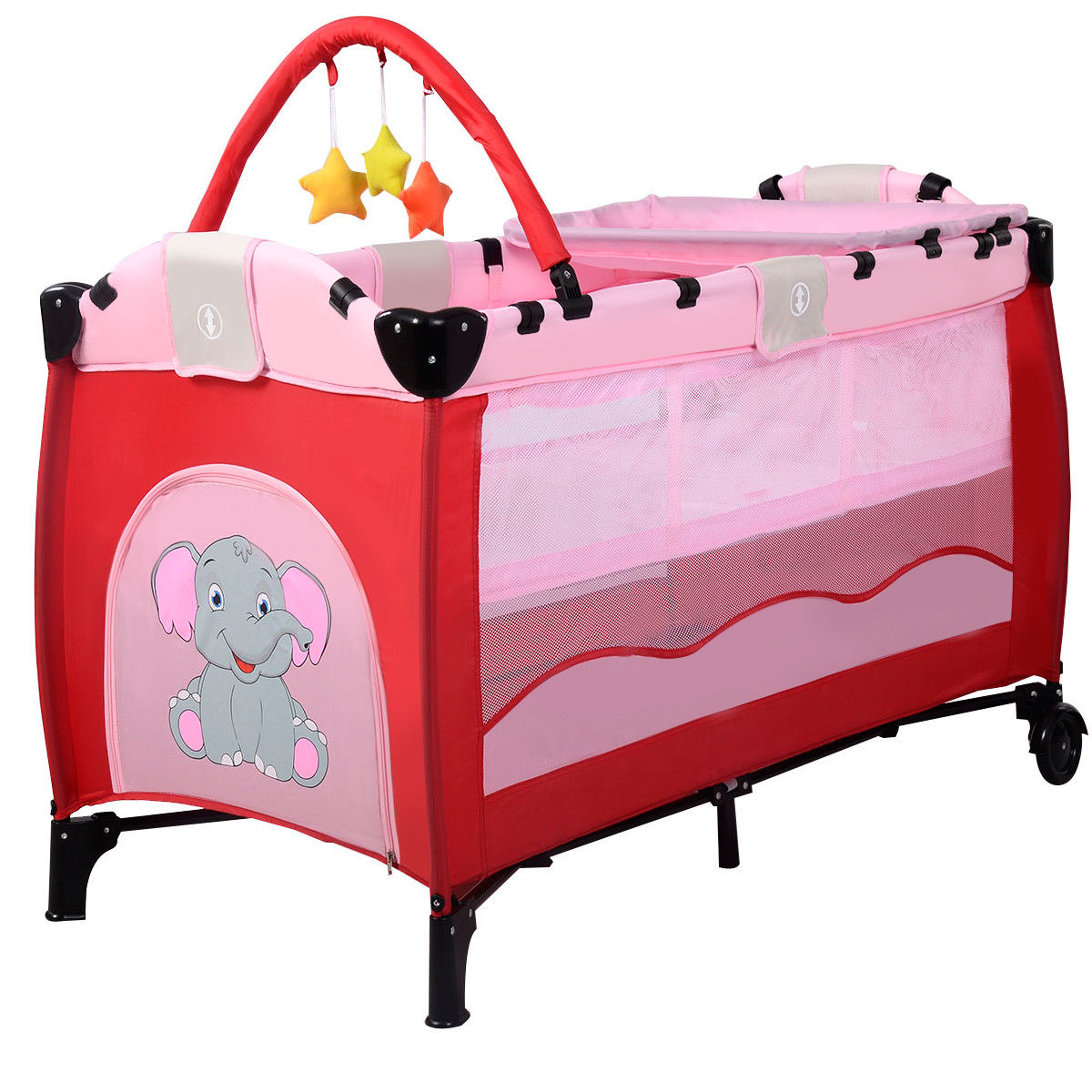 New Pink Baby Crib Playpen Playard Pack Travel Infant Bassinet Bed Foldable