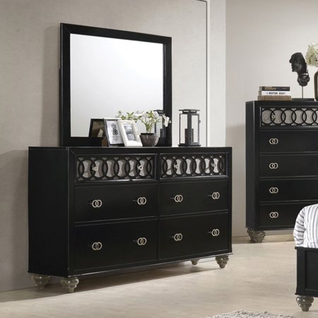 Acme Ulrik 6 Drawers Dresser In Copper Shimmery And Black Walmartcom
