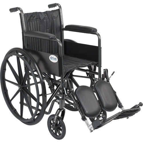 "Drive Medical Silver Sport 2 Wheelchair, Non Removable Fixed Arms, Elevating Leg Rests, 16"" Seat"