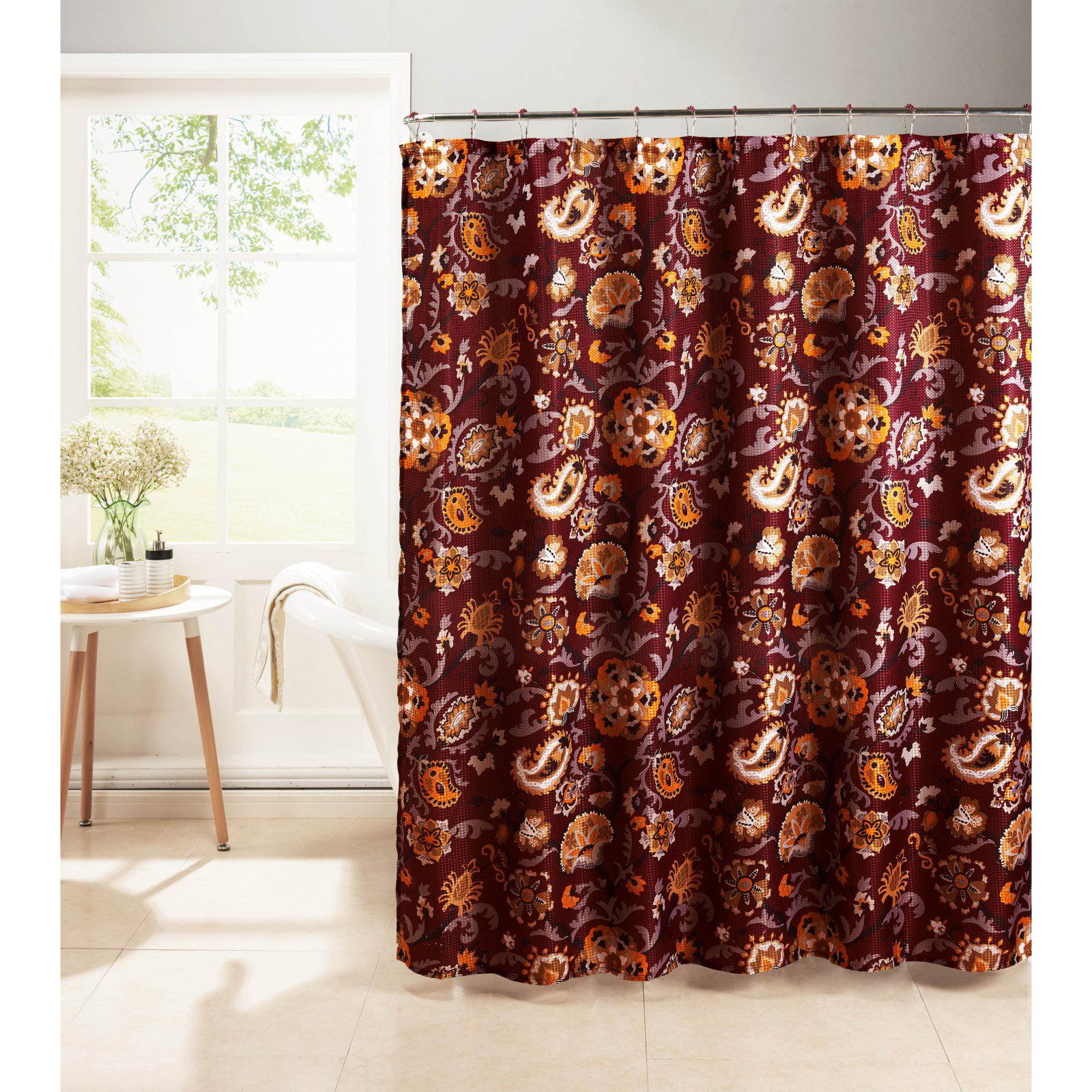Henna Diamond Weave Textured Shower Curtain with Metal Roller Hooks