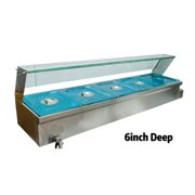 5-Pan Bath Warmer Bain-Marie Buffet Food Warmer Steam Table 57x14x12.4inch