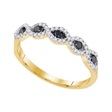 10kt Yellow Gold Womens Round Black Color Enhanced Diamond Band Ring 1/3 Cttw - image 1 de 1