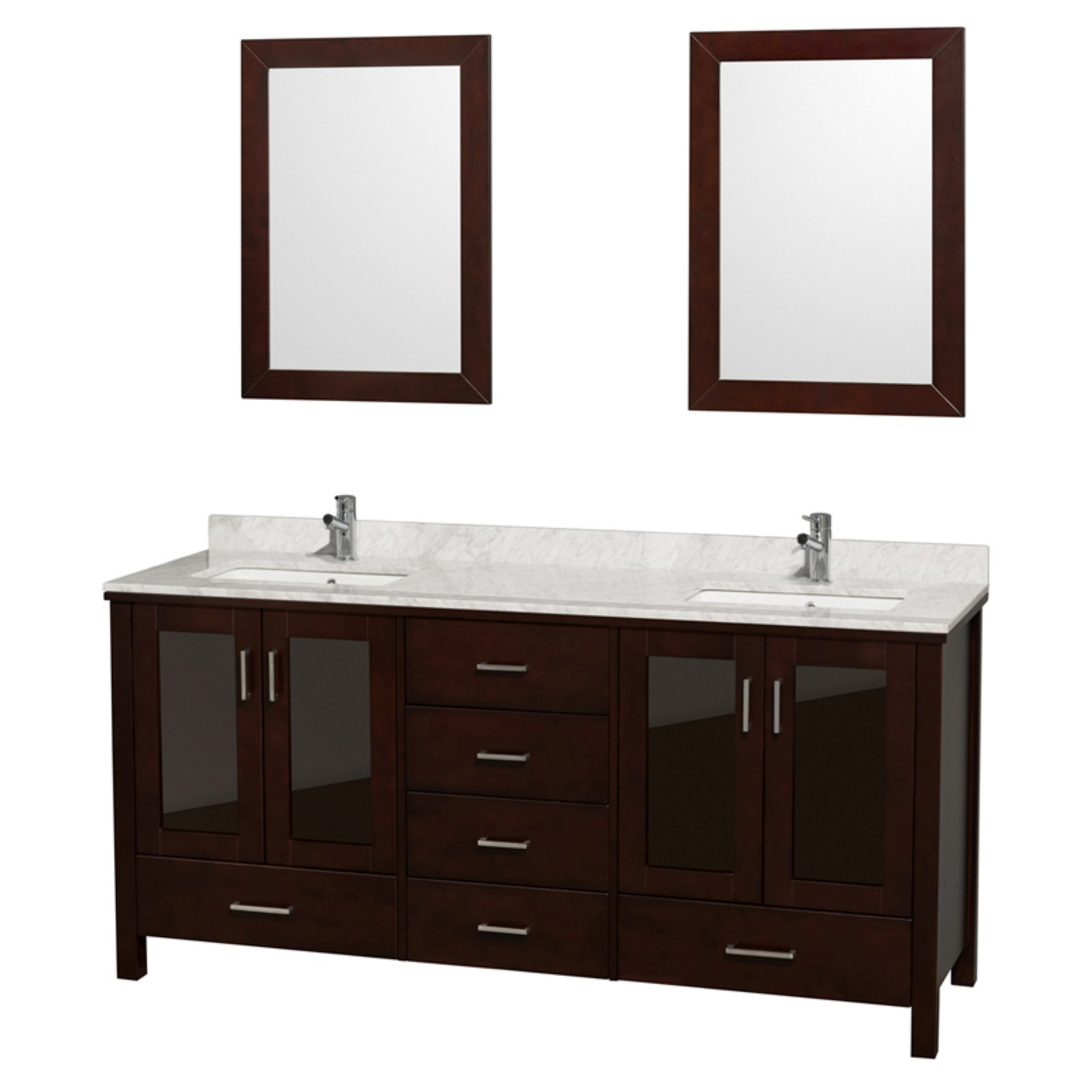 Wyndham Collection Lucy 72 inch Double Bathroom Vanity in Espresso, White Carrera Marble Countertop, White Undermount Sinks, and 24 inch Mirrors
