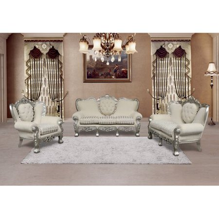 Astoria Grand Varnell 3 Piece White And Silver Embossed Fabric Standard  Living Room Set