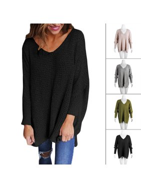 821990995 Product Image Women s Off Shoulder Casual V Neck Sheer Loose Oversized  Pullover Sweater High Low Knitted Jumper