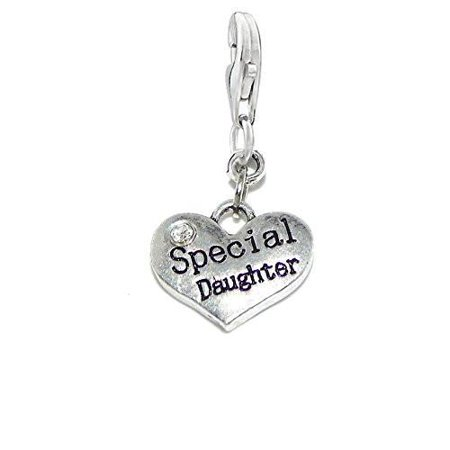 Special Daughter Charm for European Clip on Jewelry w/ Lobster Clasp Costume Jewelry Charms