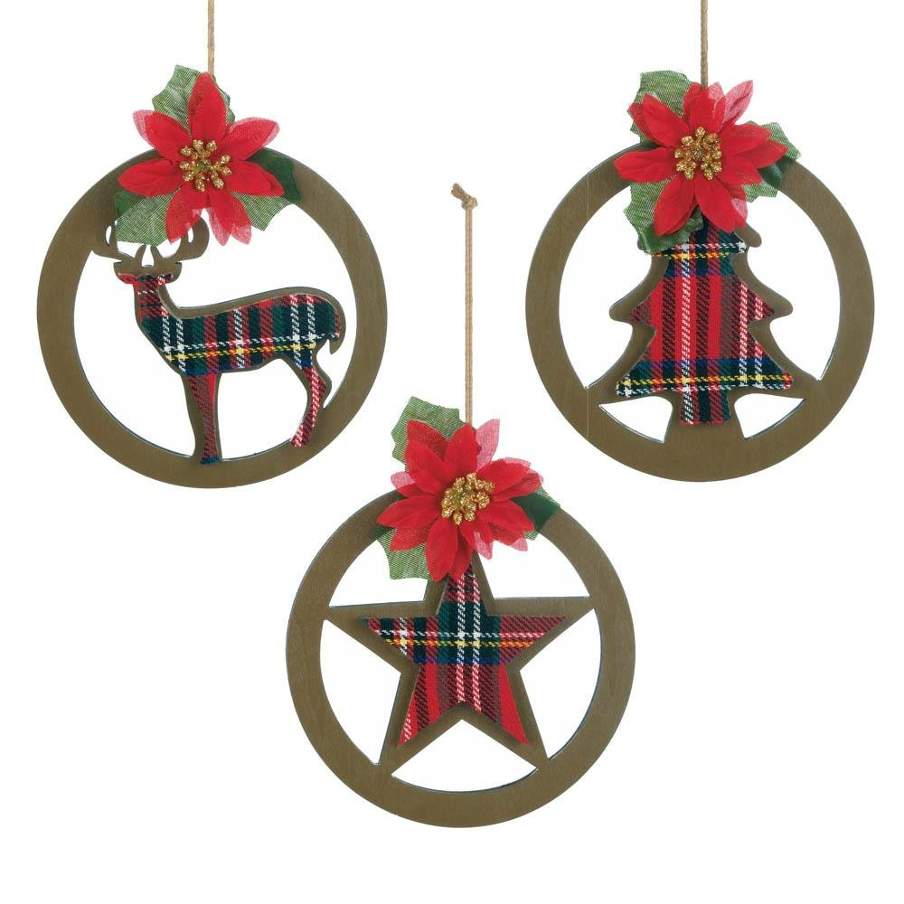 Ornament Sets Decor Ornaments Christmas Decorations Tree Ornaments Plaid Sold By Case Pack Of 12