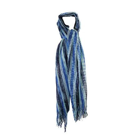 Collection Xiix Blue Multi Stripe Lurex Net Fringe Wrap OS