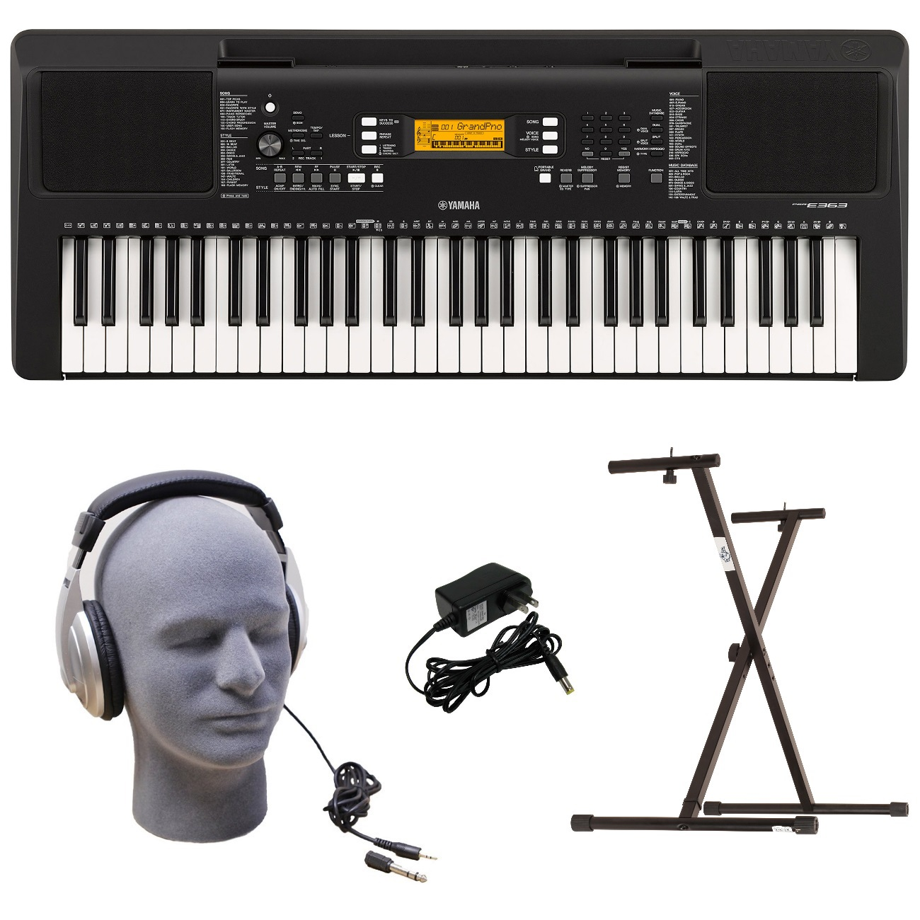 Yamaha PSR-E363 PKY 61-Key Keyboard Pack with Headphones, Power Supply, & Secure Bolt-On Stand