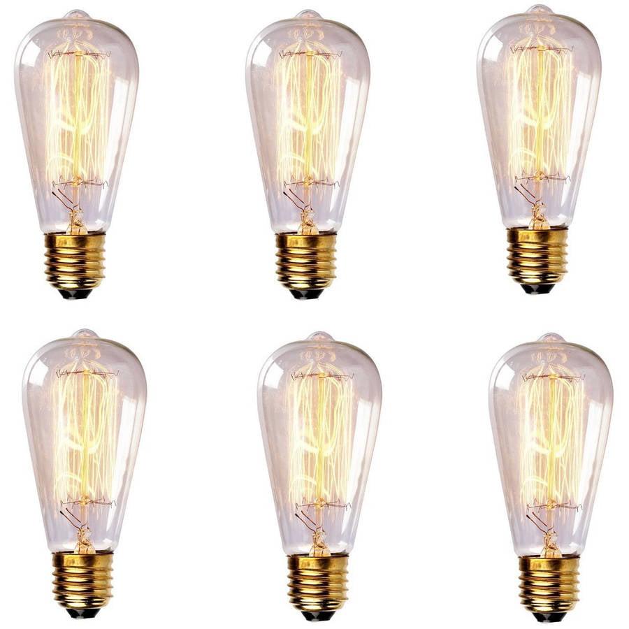 Newhouse Lighting 60W ST64 Vintage Incandescent Edison Light Bulb, 6-Pack Image 1 of 2