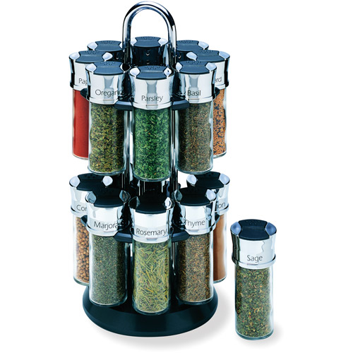 Olde Thompson 16-Jar Chrome Carousel Spice Rack
