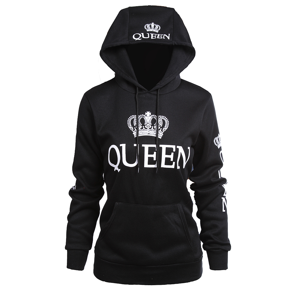 Couple Hoodies King & Queen Matching Couple Sweatshirt with Cat Pouch with Hood