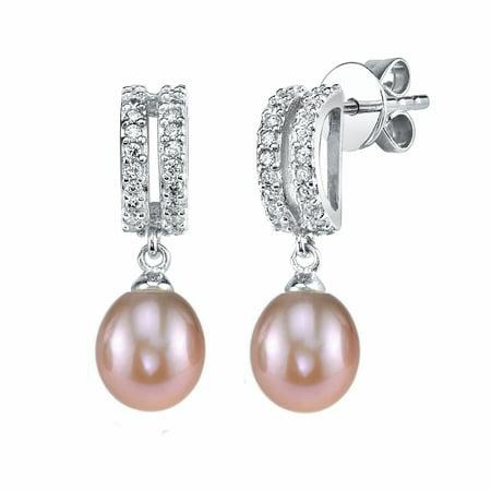 8mm Pink Freshwater Cultured Pearl & Crystal Blake Earrings 8mm Genuine Pink Pearl Earrings