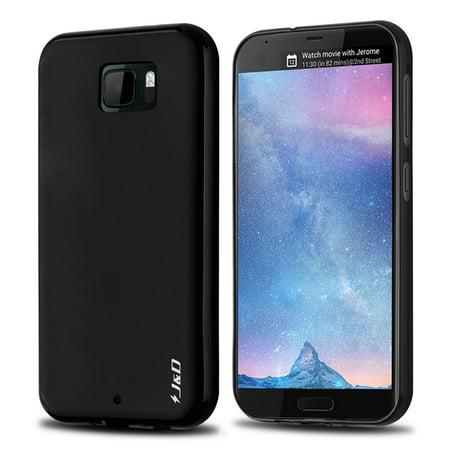 HTC U Ultra Case, J&D [Drop Protection] [Slim Cushion] [Lightweight Bumper] Shock Resistant Protective TPU Slim Case for HTC U Ultra – Black (Htc Protective Case)