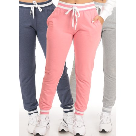 BEST VALUE! WEAR ANYWHERE PANTS! Casual Stylish Activewear Gym Loungewear Womens Juniors High Waisted Striped Pink Gray Navy Jogger Pants (3 PACK G22)