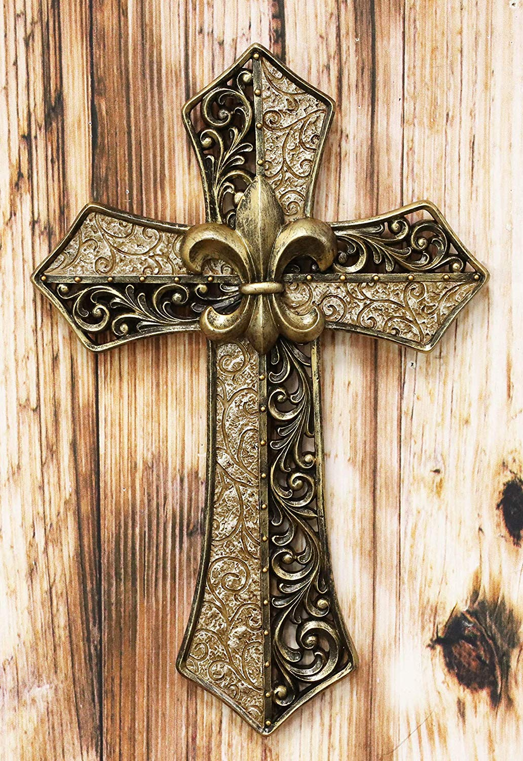 Ebros Rustic Southwest Fleur De Lis With Tuscan Scroll Filigree Art Wall Cross Decor Plaque In Two Tone Vintage Bronze And Beige Color 14 25 Tall French Christian Accent Cross Walmart Com Walmart Com