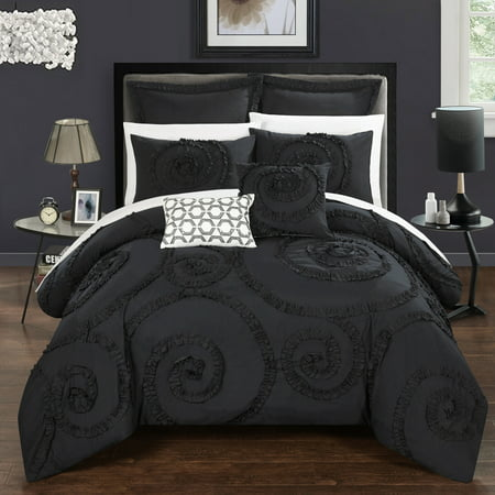 Chic Home 7 Piece Rosamond Floral Ruffled Etched