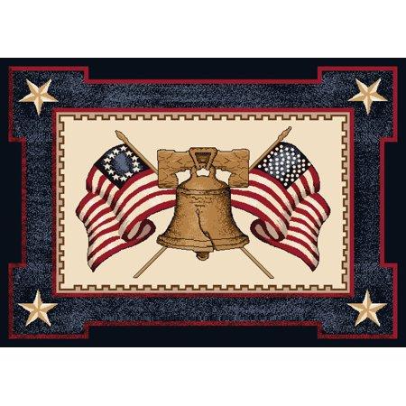 Milliken Seasonal Inspirations Area Rugs - Novelty 02000 Opal Liberty Bell Flags Patriotic Rug ()