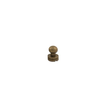 "Tandy Leather Button Stud 1/4"" (7mm) Screwback Nickel Free Antique Brass Plate 11309-20"