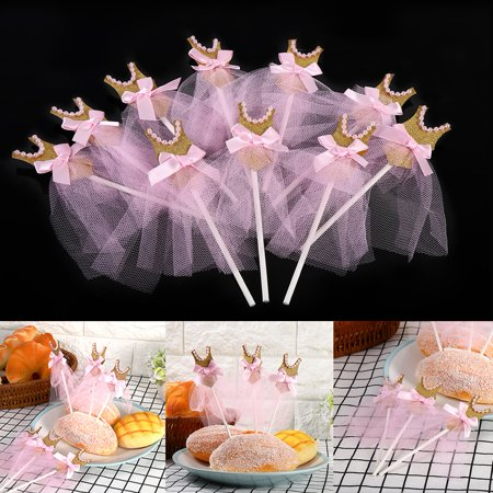 10pcs/50pcs/​100pcs​ Cupcake Toppers Gold Glitter Pink Princess Skirt Decor Cake Toppers for Wedding Birthday Baby Shower Party Valentine's Day](Dallas Cowboys Baby Shower Cake)