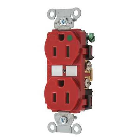 BRYANT Receptacle,Red,15A,125VAC,Duplex Outlet 8200HBRED