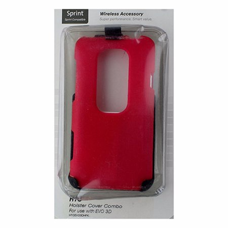 Technocel 2 Piece Hardshell Case with Holster for HTC Evo 3D - Pink